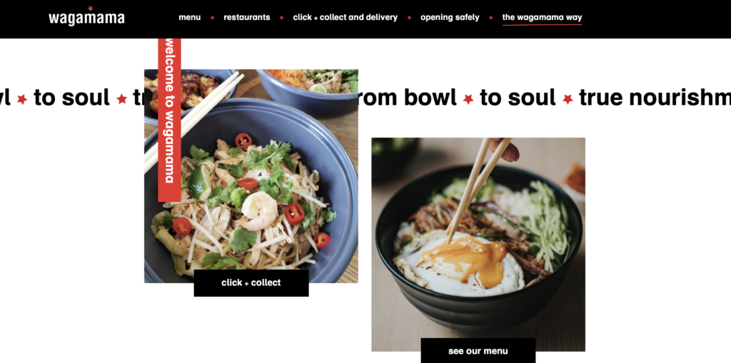 Wagamama website home page
